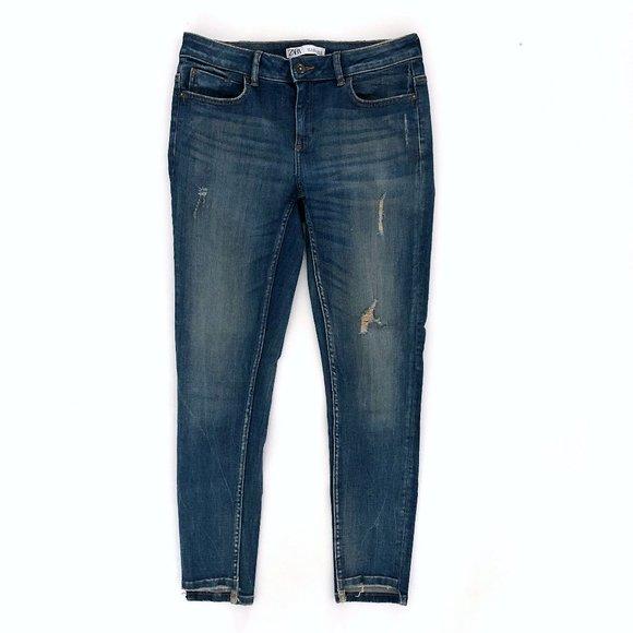 Zara Denim - ZARA Women's Ripped Vintage Wash Skinny Jeans 06
